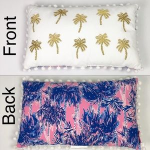 NEW Lilly Pulitzer Reversible Palm Tree Pillow